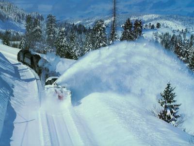 铁路,扫雪机,山,冬天,雪,森林,美丽
