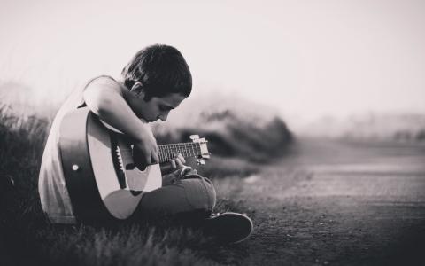 男孩,吉他,音乐