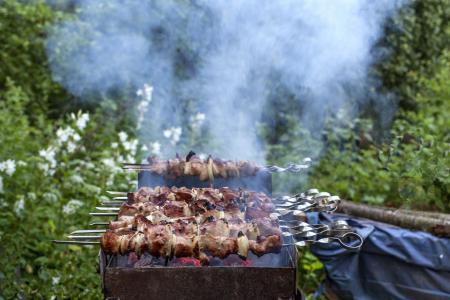 烧烤,烤羊肉串,烟