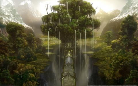 森林,山,峡谷,桥,树,城堡