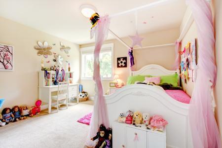 床,托儿所,娃娃,房间,枕头,玩具,舒适