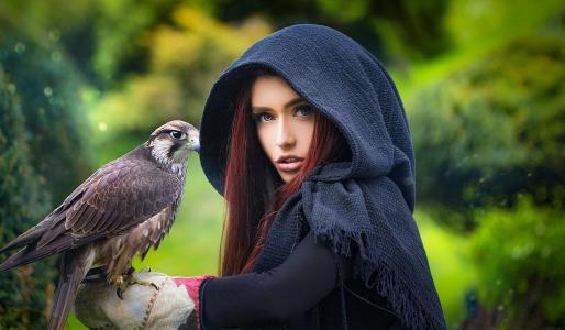 女孩,模型,肖像,查看,鸟,猎鹰,猎人