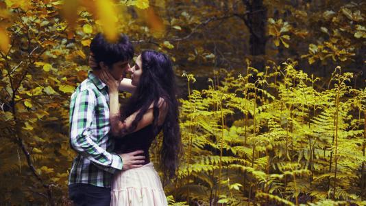 女孩,男朋友,森林,夫妇,在恋爱中