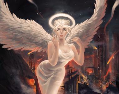 艺术,女孩,天使,翅膀,光环,城市,眼泪,情绪,破坏