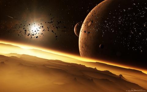 星星,月亮,陨石坑,表面,发光,行星