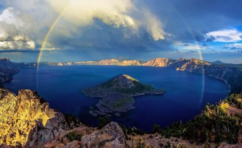自然,山,极端,假期,湖,火山,岛,彩虹,美丽,云,阴