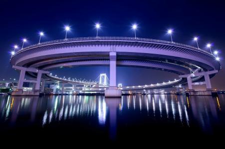 夜,灯,东京,背光,首都,日本,桥