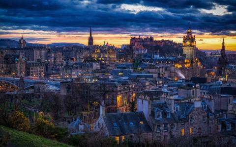 苏格兰,城市,爱丁堡,晚上,家,光,云