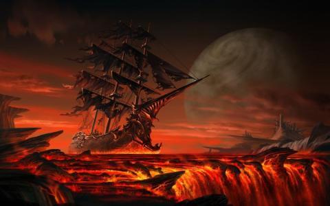 幻想,其他,世界,时代,船舶,紫色,天堂