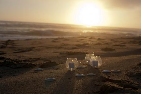 蜡烛,波浪,贝壳,海滩,日落,沙,海,晚上