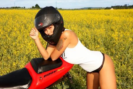 女孩,摩托车,乳房,图,美女