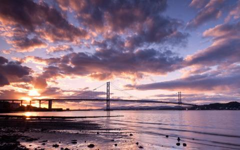 河,日落,苏格兰,天空,云,景观,桥,性质