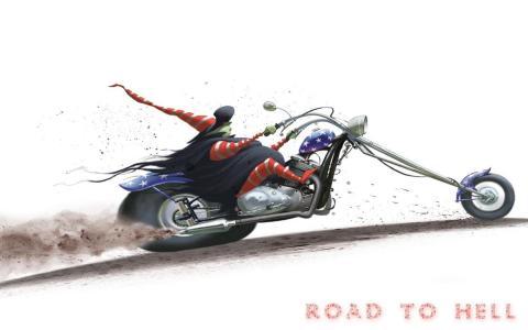 万圣节,helloween,地狱之路,地狱之路,摩托车,白色背景