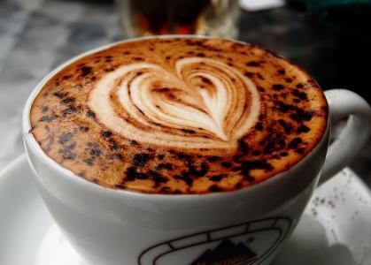 卡布奇诺,心,杯,咖啡,宏,绘图