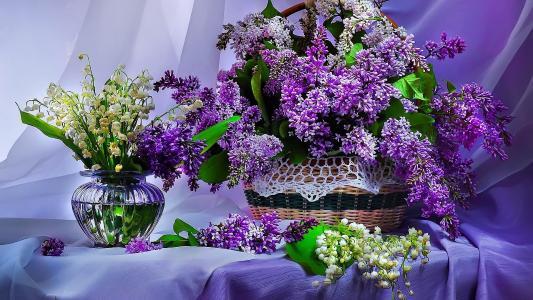 鲜花,丁香,花束,美丽,花瓶,篮子,春天,表,丁香,蓝色,百合花
