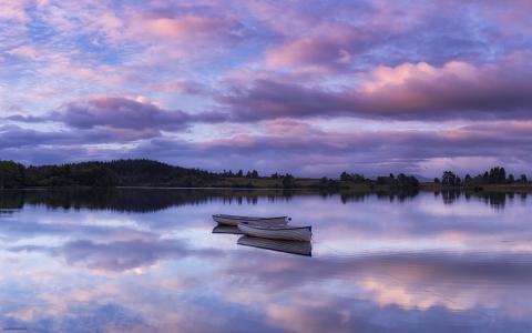 日落,河,船,壮观