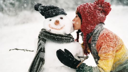 冬天,雪人,女孩,照片,积极