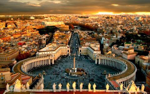 梵蒂冈城,圣伯多禄广场,日落