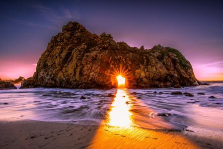 美国,美国,自然,海洋,岩石,悬崖,光,光线,太阳,海岸