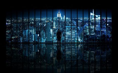 纽约,晚上,窗户,城市,查看