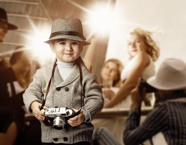 男孩,相机,帽子,记者