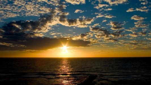 海,天空,日落