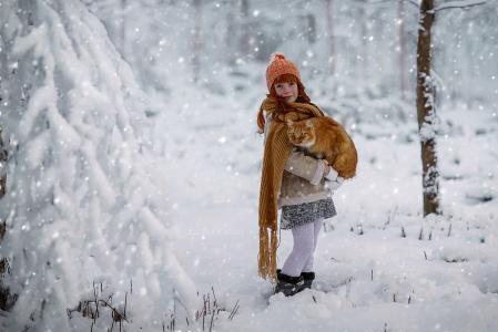 女孩,猫,摄影师,朱莉娅Voinich,冬天,围巾,帽子
