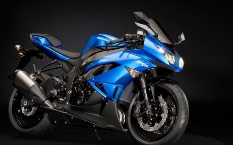 川崎,蓝色,摩托车