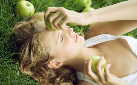 卷曲,草,苹果