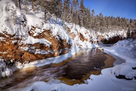 森林,悬崖,河,雪,KrubeK