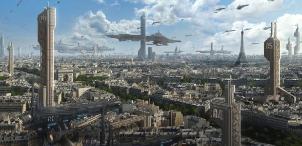 巴黎,astrokevin,埃菲尔铁塔,未来,城市,艺术