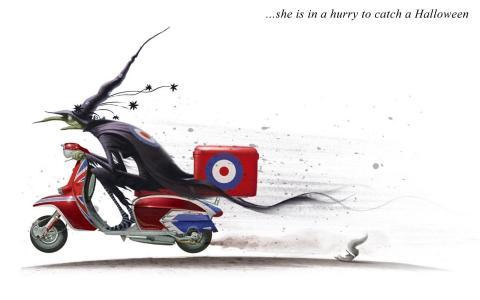 快点赶上万圣节,在轻便摩托车,白色背景上的女巫