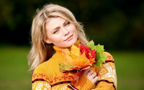 秋天,毛衣,女孩,金发,叶子,枫叶,心情