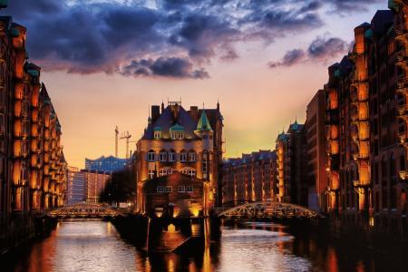 渠道,城市,欧洲,房子,晚上