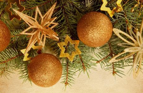 圣诞树,球,分支机构,星号,圣诞树装饰