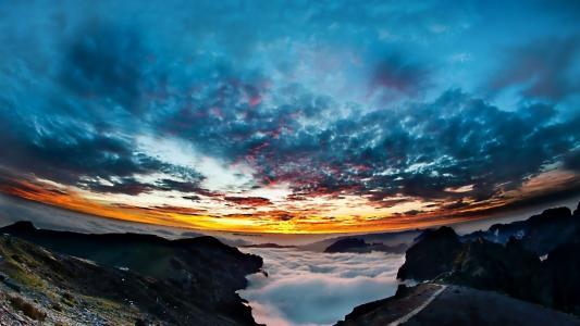 山脉,云层,天空,日落,黎明,镜头
