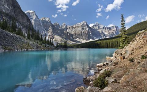 湖,山,森林,石头