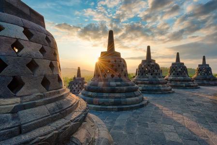 印度尼西亚,天空,光线,云,爪哇婆罗浮屠,性质