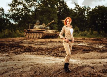 坦克,形式,军队,森林