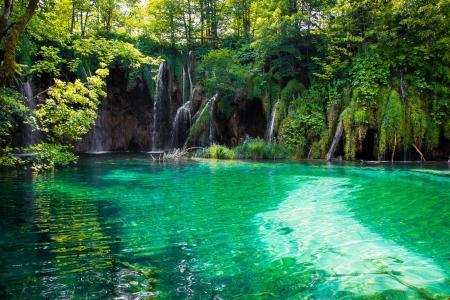 热带,自然,森林,水,瀑布,湖