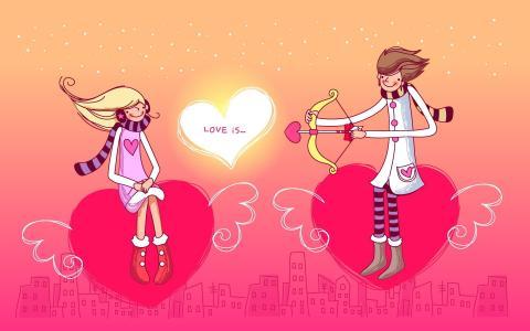 绘图,飞翔的心,爱,丘比特的游戏