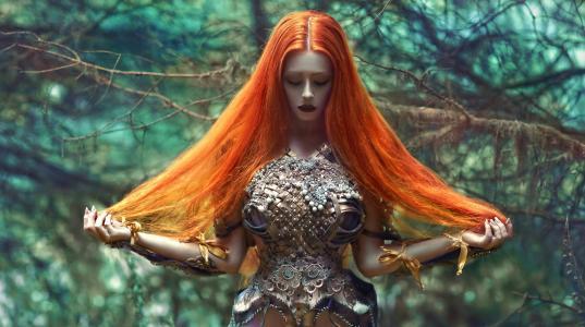 红发,构成,森林,创意,图像