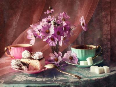 阿纳斯塔西娅Soloviova,静物,静物,桌子,桌布,面料,面纱,杯子,糖,飞碟,蛋糕,鲜花,kosmeja