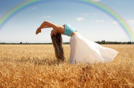 女孩,弯曲,姿势,运动,行动,身体,手,领域,小麦,黑麦,性质,天空,彩虹,树,树,叶