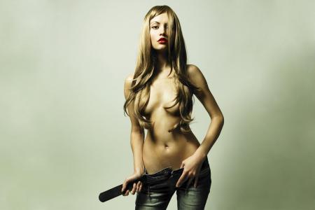 长,裸照,头发,女孩,模型