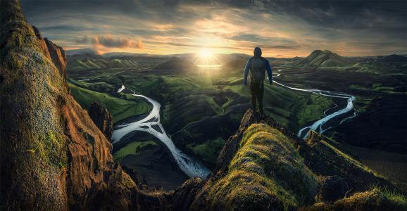 自然,冰岛,山,日出,太阳,人