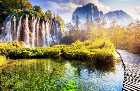 瀑布,路径,山,美丽