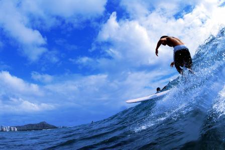 家伙,冲浪,溅,波,海,云