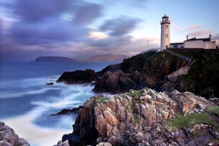 爱尔兰,灯塔,海洋,日落,天空,美女