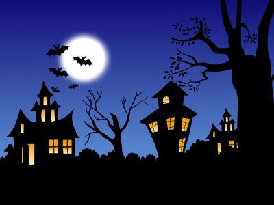 月亮,万圣节,窗外的光线,蝙蝠